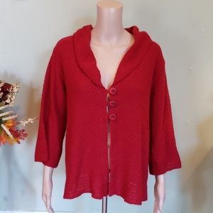 Denim & Co red lightweight cardigan sweater